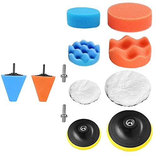 Gesh 12Pcs Polishing Pads Sponge Buffing Pads Waxing Pads with Drill for Car Polisher Car Buffers and Polishers