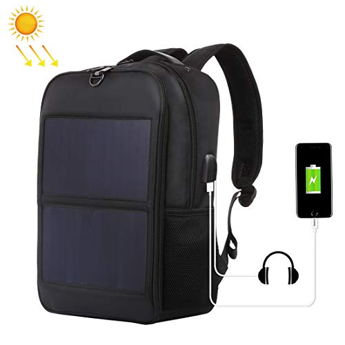 14W Solar Panel Power Backpack Laptop Bag with Handle and 5V / 2.1A Max USB Charging Port(Black)