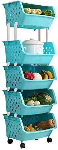 Dljyy Solid 4-laags creatief multifunctionele huishouden groente en fruit mand met deksel, mode speelgoed keuken magazijn plastic voedsel mand opslagrek, maat (44 * 35 * 132,5 cm) (maat: groen)