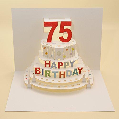 Forever Handmade Pop Up Karte zum 75. Geburtstag - eine hochwertige und originelle Geburtstagskarte, Glückwunschkarte oder Einladungskarte, auch Geschenkgutschein oder Geldgeschenk. GP069