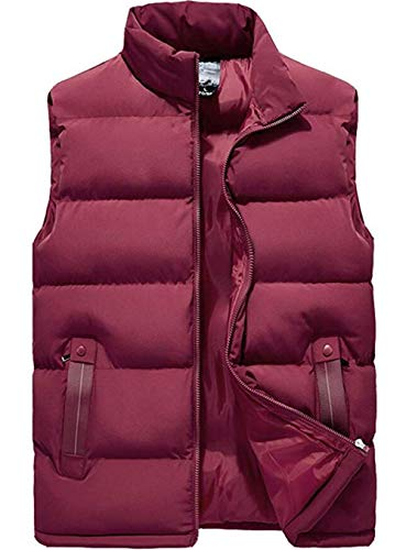 XinYangNi Men's Lightweight Down Alternative Vest Outdoor Quilted Puffer Sleeveless Jacket Outwear Red US S