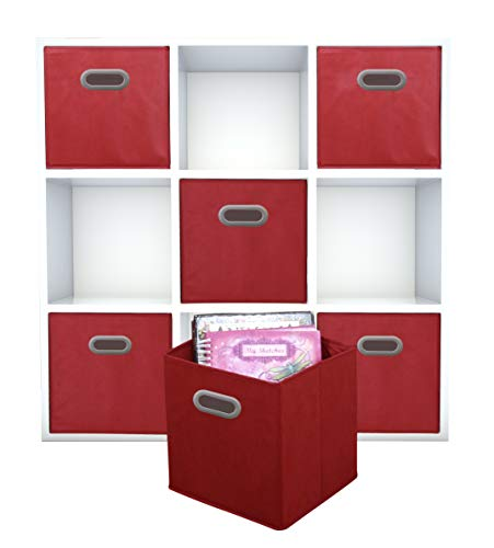 Adorn Home Essentials| Dual Handle Foldable Cloth Storage Cube| Basket, Bins,Containers and Drawer Organizer| 6- Pack - Red