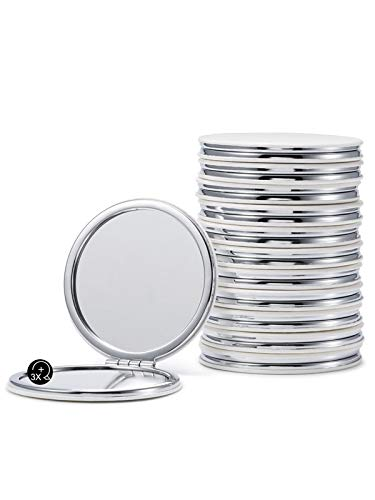 Round Compact Mirrors Bulk, Set of 12 Double-Sided 1X/3X Magnification PU Leather