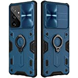 CloudValley Armor Hülle für Samsung Galaxy S21 Ultra 5G 6.8'' mit [Schiebekameraschutz und Ringständer], Militärhülle mit 360° Drehbarer Ständerring, Stoßfest, Rüstungshülle für S21 Ultra 2021-Blau