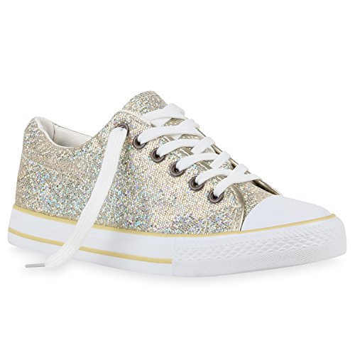stiefelparadies Glänzende Damen Sneakers Glitzer Metallic Sneaker Low Pailletten Flats Turn Leder-Optik Schuhe 111007 Gold 38 Flandell