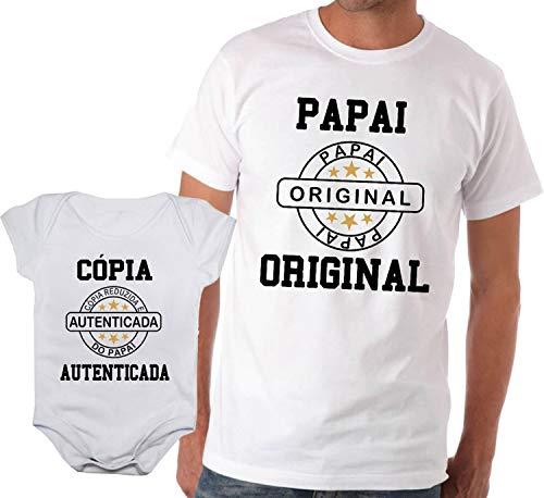 Camiseta adulta papai original e body de bebê cópia autenticada (Branca, Adulto GG - Body P)