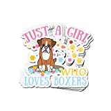 Lucky Star 3 PCs Stickers Women's Just A Girl Who Loves Boxers 4 × 3 Inch Vinyl Die-Cut Decals for Laptop Window