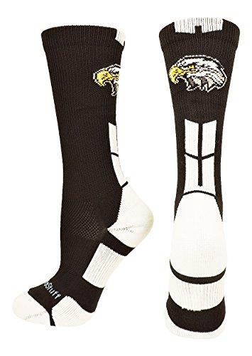 MadSportsStuff Eagles Logo Athletic Crew Socks (Black/White, Small)