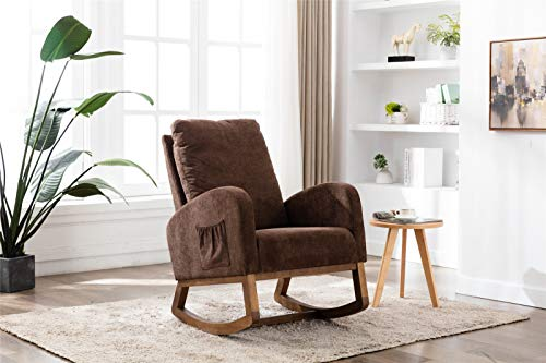 JIAYOUNG Rocking Chair with Solid Wood Leg and Wood Frame Mid Century Retro Modern Living Room Rocking Chair Single Sofa Chair for Living Room Bedroom
