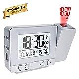 OurLeeme Horloges à Projection, Réveil électronique Projection Murale avec Double Alarme, 12/24 Heures, Date, Humidité de l'écran Température Intérieure (Argent)