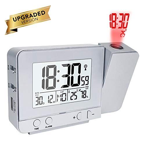 OurLeeme Proiettori Orologi, Sveglie Elettroniche Tempo Proiezione Parete LCD Dimmerabile con Doppio Allarme, Funzione Snooze, 12/24 Ore, Data, Visualizzazione umidità Temperatura Interna (Argento)