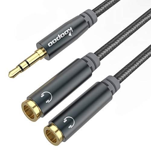 3.5mm Headphone Splitter, 3.5mm Audio Splitter, AUX Splitter, KOOPAO Nylon-Braided 3.5mm Male to 2 Female Extension Cable, Dual Headphone Jack Adapter for Phone, PC, Tablets, MP3