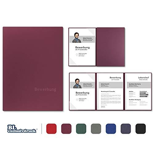 5 Stück 3-teilige Bewerbungsmappen BL-exclusivdruck® OPTIMA-plus in Bordeaux - Premium-Qualität mit edler Relief-Prägung 'Bewerbung' - Produkt-Design von 'Mario Lemani'