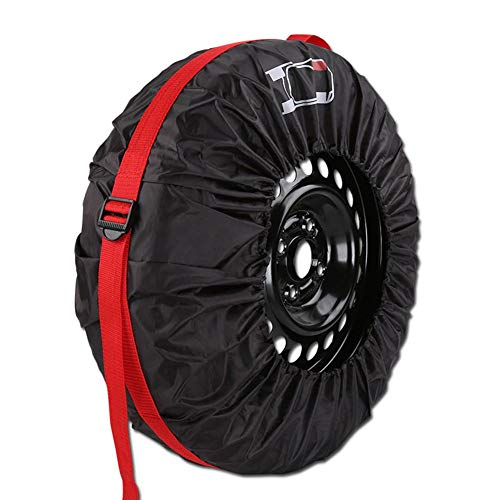 aheadad - Bolsas de Almacenamiento para neumáticos, con Tapa Antipolvo, 4 Unidades, para Proteger Las Ruedas de los neumáticos, con Cuerda elástica
