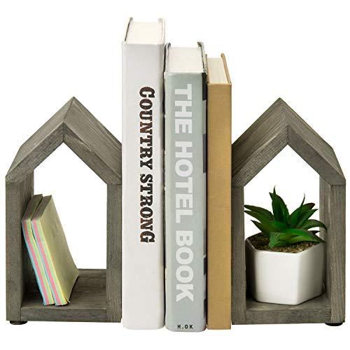 MyGift Vintage Gray Wood and Black Metal Decorative HouseShaped Design Book Ends Set of 2