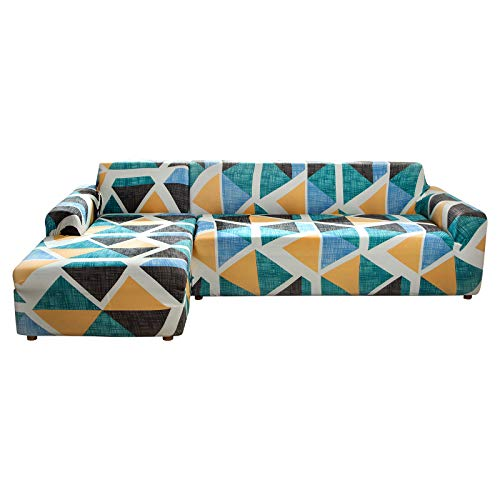 papasgix Fundas para Sofa Chaise Longue en Forma de L, Cubre para Sofás Elastica Extraíbles y Lavables Antideslizante 2 Piezas Protector de Muebles(Verde/Blanco,2 Plazas+ 3 Plazas)