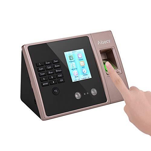 Aibecy impronte digitali rilevatore presenze per la rilevazione del tempo con impronta digitale con schermo HD Supporto per impronte digitali Password Dipendente Registratore per check-in