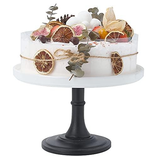 9 inches/22.5 cm White Ceramic Cake Dessert Stand , Round Cupcake Holder, Wedding Birthday Party Pedestal Display Plate (A, White)