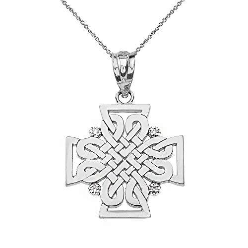 Sterling Silber Zirkonia keltisch Kreuz Anhänger Halskette (Kommt mit Einer 45 cm Kette)