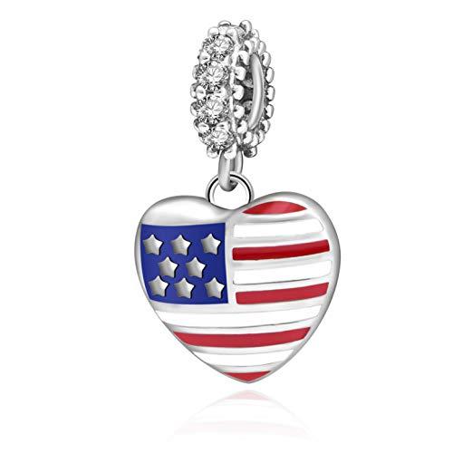 SOUKISS - Abalorio de Plata de Ley 925 con diseño de corazón y Bandera de Estados Unidos, Compatible con Pulseras
