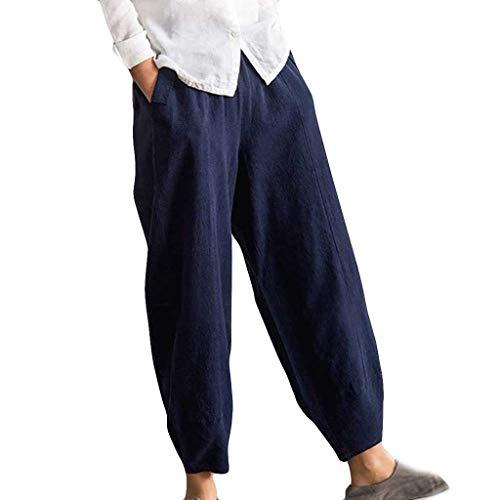 Dtuta Hosen Damen High Waist Volltonfarbe Kurze Damenhosen Aladinhose Pluderhose Stoffhose mit Taschen