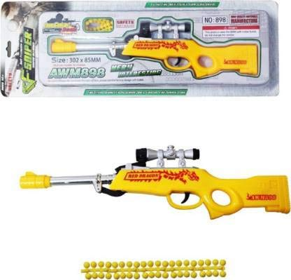 Yellow Soft Bullet Sniper Gun for Kids Combat Blaster with Darts for Kids