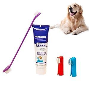 KISSION. Animal de Compagnie Dentifrice Brosse à Dents, Brosses à Doigts, Saveur de Boeuf Animal de Compagnie Set de Soins Dentaires