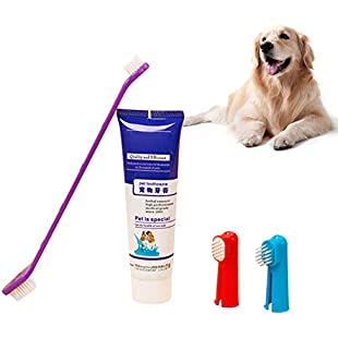 RUIBUY Dog Cat Toothpaste (90g,Beef Flavored)+ 3 * Toothbrushs Double Sided with Long Curved Handle Large and Medium Dogs,2 Finger toothbrushs for Small Dog Cat,Set 4 PCS,REMOVES FOOD DEBRIS:Kostenlosefilme
