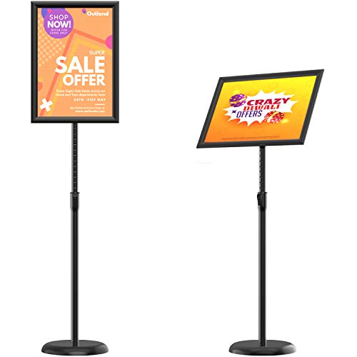 KOOV Poster Sign Stand 11 x 17 Inches Floor Standing Sign Holders, Adjustable Pedestal Poster Stand with Heavy Duty Round Base Both Vertical and Horizontal Sign Displayed, 1Pack Black