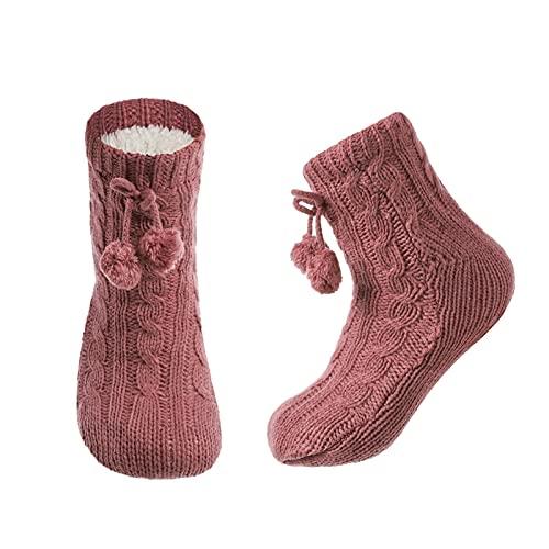 PJRYC Calcetines de Mujer, Piso cómodo, Bola de Piel sin Deslizamiento de Invierno Suave, Zapatillas Cortas Calcetines (Color : Coral Red, tamaño : EUR 35-37)