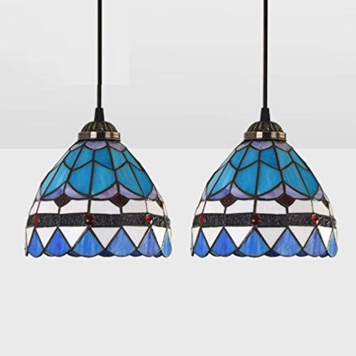 W-LI Moderne Pendent Lamp Design Salon Esszimmer Veranda Mittelmeer Korridor Balkonzubehör Hängen Beleuchtung Runde Glasmalerei Dekoration Decke Beleuchtung E27 Max.60W