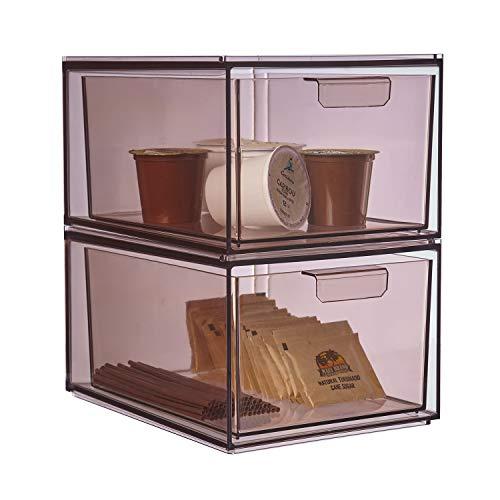 STORi Mod Stackable Pantry Storage Drawers 4-1/2' Tall   set of 2   Mocha Mist