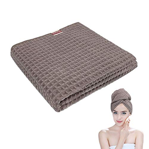 Microfiber Hair Towel Waffle Hair Towel Wrap for Women Anti frizz Hair Products Instant Super Absorbent Quick Dry Towel for Curly,Long & Thick Hair,1 PCS 39.4 x 17.7 Inches Grey