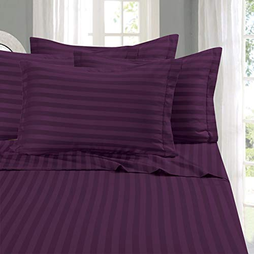 Elegant Comfort Best, Softest, Coziest 6-Piece Sheet Sets! - 1500 Thread Count Egyptian Quality Luxurious Wrinkle Resistant 6-Piece Damask Stripe Bed Sheet Set, King Eggplant/Purple