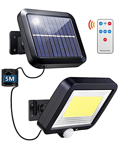Luce Solare Led Esterno, 100 LED Lampade Solare per Esterni con Sensore di Movimento, IP65 Impermeabile, Angolo di Illuminazione di 120°, 3 Modalità, lampada da Parete per Giardino con Cavo