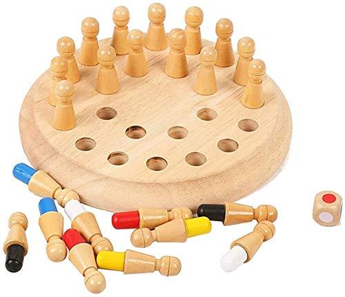 Juego de ajedrez juego de ajedrez juego de mesa para niños, Memoria de madera Match Match Stick Chess Game Fun Block Board juego, Color Educativo Capacidad cognitiva Juguetes para juegos tradicionales