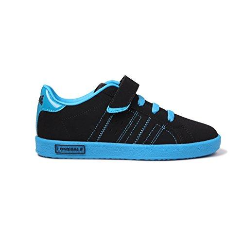 Lonsdale Kinder Oval Jungen Schnürschuhe Sport Schuhe Turnschuhe Schuhe Schwarz/Blau C11 (29)