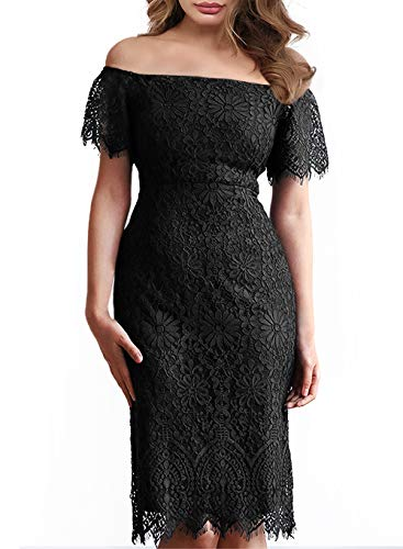 MSLG Dresses for Women Petite Off Shoulder Floral Lace Pencil Wedding Guest Cocktail Party Dress from Juniors and Teens 929 Black M