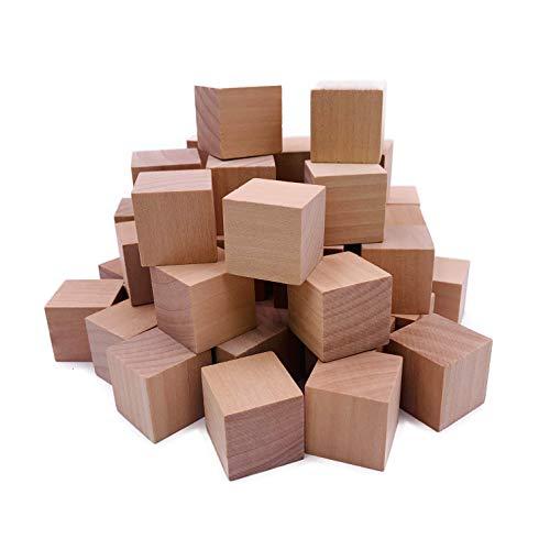 William Craft Lot de 130 cubes en bois naturel massif 2,5 cm