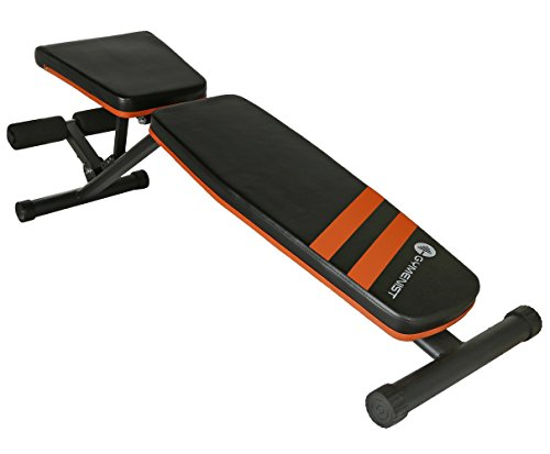 GYMENIST Exercise Bench Adjustable Foldable Compact Workout Weight Bench Easy to Carry NO Assembly Needed, Black-Orange (FOLD-110B)