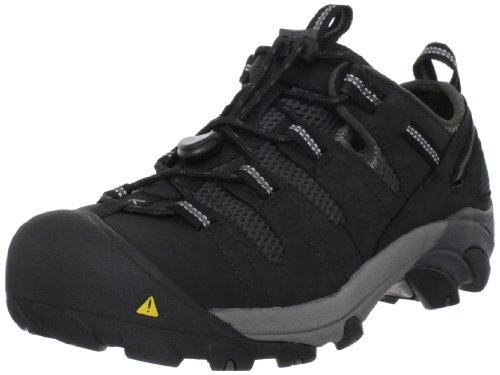 KEEN Utility Men's Atlanta Cool Low Steel Toe Work Shoe, Black/Dark Shadow, 9 Wide US
