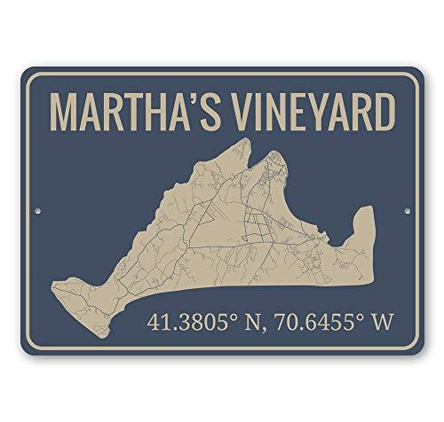 Martha's Vineyard, Coordinates Destination Sign, Island Outline De Sign, Beach-Lover Gift Aluminum Sign - 16' x 24'