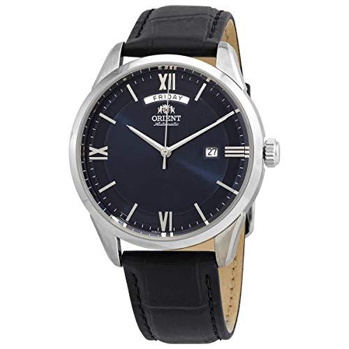 Orient Reloj de hombre automático contemporáneo con esfera azul RA-AX0007L0HB