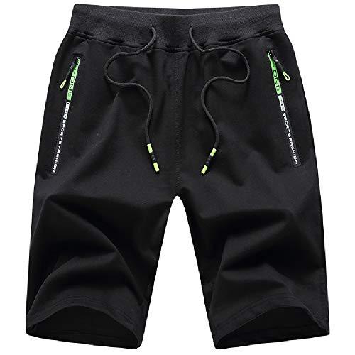 JustSun Kurze Hosen Herren Shorts Sommer Kurze Jogginghose Baumwolle Sweat Sport Shorts mit Reißverschluss Schwarz XL