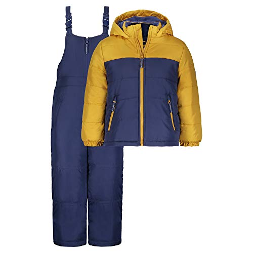Osh Kosh Boys' Ski Jacket and Snowbib Snowsuit Set, Gold/Indigo, 2T