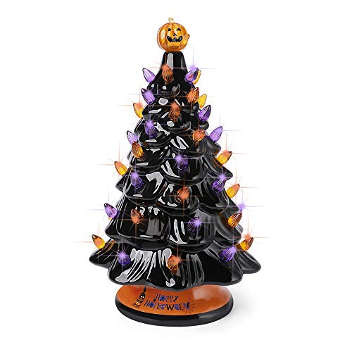 Binoster Black Halloween Ceramic Tree with Orange and Purple Lights,Prelit Tabletop Halloween Decor Tree with Pumpkin Top and Happy Halloween Tree Collar 12.5Inch