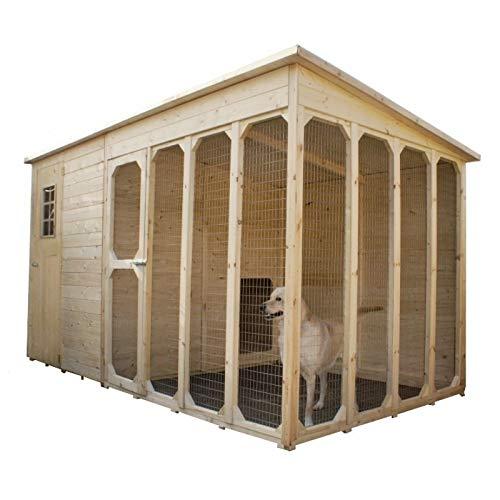 Home Idea Italia - Casetta per Cani Cuccia in Legno 371 x 174 cm con recinto
