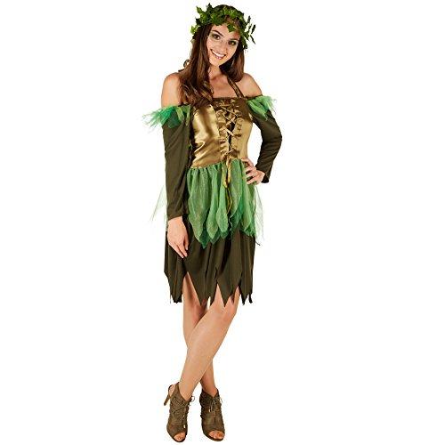 TecTake dressforfun Disfraz de Hada del Bosque para Mujer | Vestido Encantador | Incl. Corona de Hiedra Artificial (S | No. 301130)