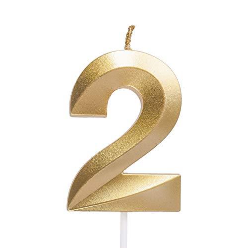 URAQT Velas De Cumpleaños Número 2, Velas De Cumpleaños Oro, Adecuado para Fiestas De Cumpleaños, Aniversarios De Bodas, Fiestas De Jubilación, Etc. 7cm