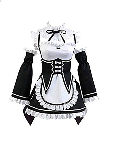 Re-Zero Rem Ram Cosplay Kostüm Dienstmädchen Kleid Gr. L, Schwarz